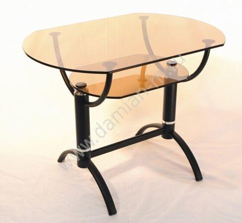 Журнальный стол с металлическим основанием и стеклянной столешницей